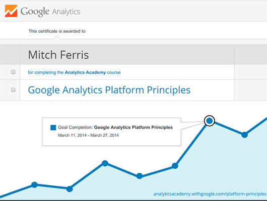 Certification: Mitch Ferris, Digital Analytics Fundamentals | Google ...